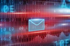 autour de l'enveloppe bleue du concept e de flèche à l'intérieur du blanc de symbole de feuille de courrier Image stock