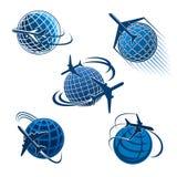 Autour de l'icône de voyage du monde avec l'avion et le globe Images libres de droits