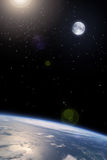 autour de l'orbite de lune de la terre Photo stock