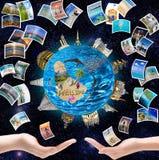 Autour de la terre et du reste sur l'île tropicale Photos stock