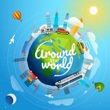 Autour de tour du monde en le véhicule différent illustration libre de droits