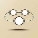 Autour de trois cellules connectées illustration stock