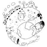Autour des griffonnages de la terre Image stock
