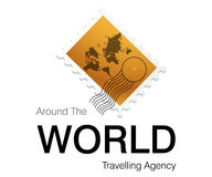 Autour du logo du monde illustration de vecteur