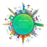 Autour du monde - composition plate en voyage de conception illustration stock