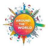 Autour du monde - composition plate en voyage de conception Photo stock