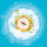 Autour du monde - conception de nature avec le compas Photographie stock