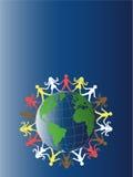 autour du monde de papier coloré d'équipe Image stock
