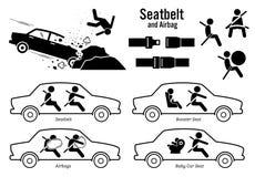 AutoVeiligheidsgordel en Luchtkussen vector illustratie