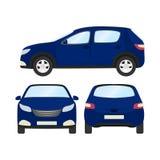 Autovektorschablone auf weißem Hintergrund Geschäftshecktürmodell lokalisiert flache Art des blauen Hecktürmodells Front Side Bac Stockfotografie