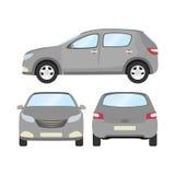 Autovektorschablone auf weißem Hintergrund Geschäftshecktürmodell lokalisiert flache Art des grauen Hecktürmodells Front Side Bac Lizenzfreie Stockfotos