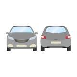 Autovektorschablone auf weißem Hintergrund Geschäftshecktürmodell lokalisiert flache Art des grauen Hecktürmodells Lokalisiert au Lizenzfreie Stockbilder