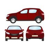 Autovektorschablone auf weißem Hintergrund Geschäftshecktürmodell lokalisiert flache Art des roten Hecktürmodells Front Side Back Stockfoto