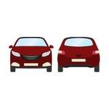 Autovektorschablone auf weißem Hintergrund Geschäftshecktürmodell lokalisiert flache Art des roten Hecktürmodells Lokalisiert auf Stockfotos