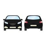 Autovektorschablone auf weißem Hintergrund Geschäftshecktürmodell lokalisiert flache Art des schwarzen Hecktürmodells Lokalisiert Lizenzfreie Stockbilder