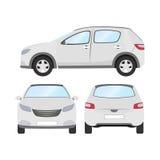 Autovektorschablone auf weißem Hintergrund Geschäftshecktürmodell lokalisiert flache Art des weißen Hecktürmodells Front Side Bac Lizenzfreies Stockbild