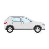 Autovektorschablone auf weißem Hintergrund Geschäftshecktürmodell lokalisiert flache Art des weißen Hecktürmodells Weicher Fokus Stockfotos