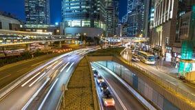 Autoverkehr an der Hauptverkehrszeit im zentralen Bezirk von Hong Kong stock video