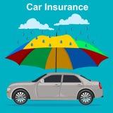 Autoversicherungskonzept, Regenschirm mit Meteor, Vektorillustration Lizenzfreie Stockfotografie