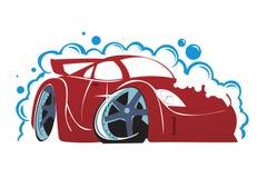 Autowashington-saubere Maschine, Autowäsche mit Schwamm und Schlauch vektor abbildung