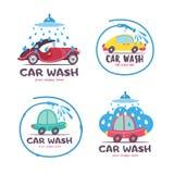 Autowashington-saubere Maschine, Autowäsche mit Schwamm und Schlauch Auto in der Karikaturart an der Waschanlage emblem vektor abbildung