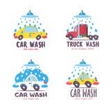 Autowashington-saubere Maschine, Autowäsche mit Schwamm und Schlauch Auto in der Karikaturart an der Waschanlage emblem stock abbildung