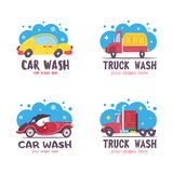 Autowashington-saubere Maschine, Autowäsche mit Schwamm und Schlauch Auto in der Karikaturart an der Waschanlage emblem lizenzfreie abbildung