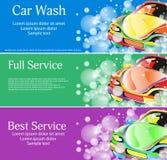 Autowashington-saubere Maschine, Autowäsche mit Schwamm und Schlauch Ein Satz Fahnen für Ihr Design Vektor Lizenzfreie Stockfotos