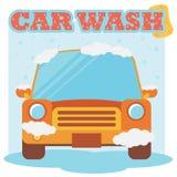Autowashington-saubere Maschine, Autowäsche mit Schwamm und Schlauch Flaches Design stock abbildung