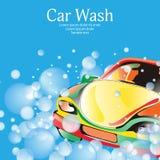 Autowashington-saubere Maschine, Autowäsche mit Schwamm und Schlauch Plakatschablone für Ihr Design Vektor stock abbildung