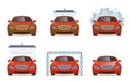 Autowashington-saubere Maschine, Autowäsche mit Schwamm und Schlauch Transportautomobilwasserwäscheservice-Vektorsammlungssatz lizenzfreie abbildung