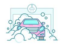 Autowasserette lineair ontwerp royalty-vrije illustratie
