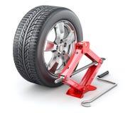 Autowiel met rode schaarhefboom Stock Afbeelding