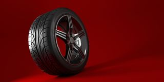 Autowiel op een rode achtergrond wordt geïsoleerd die band Afficheontwerp 3D Illustratie stock illustratie