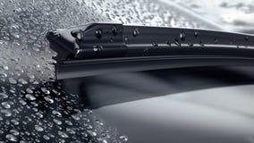 Autowindscherm met regendalingen en de frameless close-up van het wisserblad stock illustratie