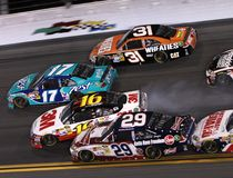 Autowrack bei Daytona Stockfotos