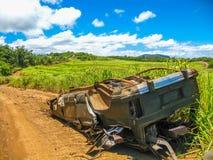 Autowrak op de weg aan Kaken, Maui royalty-vrije stock fotografie