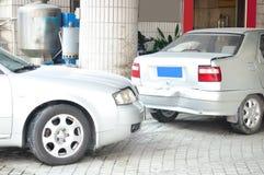 Autozerstampfungsunfall Stockfoto