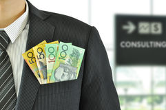 Autralian dollar banknotes in the suit pocket Stock Images