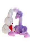 Autruche et lapin de jouet ensemble. Image stock