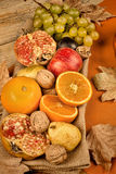Autum assortment fruit still life Royalty Free Stock Photo