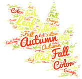 Autum Colorful Leaf Shaped Tag Cloud Background Stock Photos