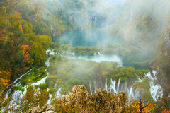 Autum colors and waterfalls of Plitvice National Park. In Croatia Royalty Free Stock Photo