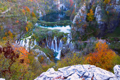 Autum colors and waterfalls of Plitvice National Park. In Croatia Stock Photos