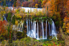 Autum colors and waterfalls of Plitvice National Park Stock Photo