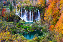 Autum colors and waterfalls of Plitvice National Park Royalty Free Stock Photos