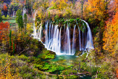 Autum colors and waterfalls of Plitvice National Park Royalty Free Stock Photo