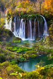 Autum colors and waterfalls of Plitvice National Park Stock Photos