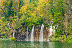 Autum colors and waterfalls of Plitvice National Park. In Croatia Royalty Free Stock Photos