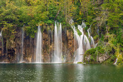 Autum colors and waterfalls of Plitvice National Park. In Croatia Royalty Free Stock Image